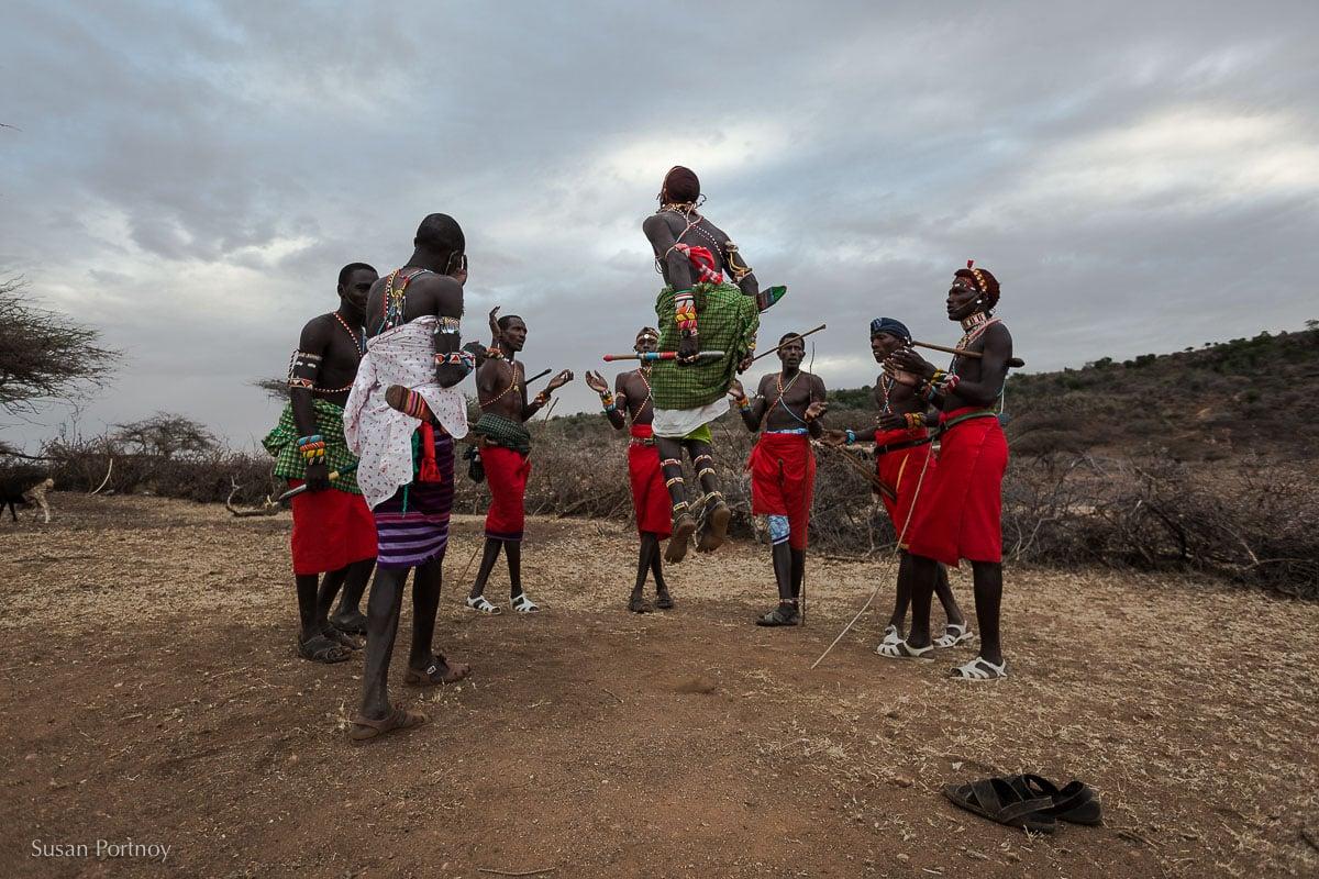 samburu-men-doing the jumping-dance-in-kenya