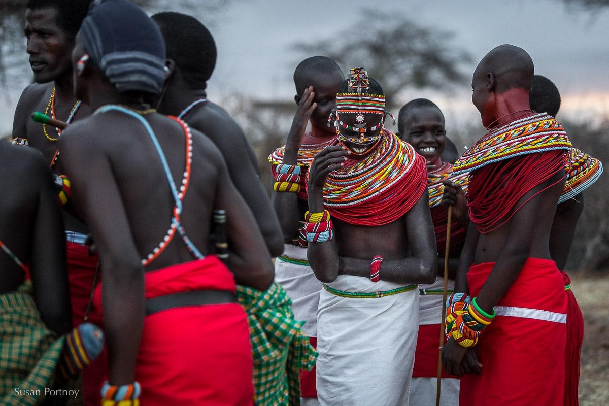 two samburu-women-laughing during a dance in Northern Kenya