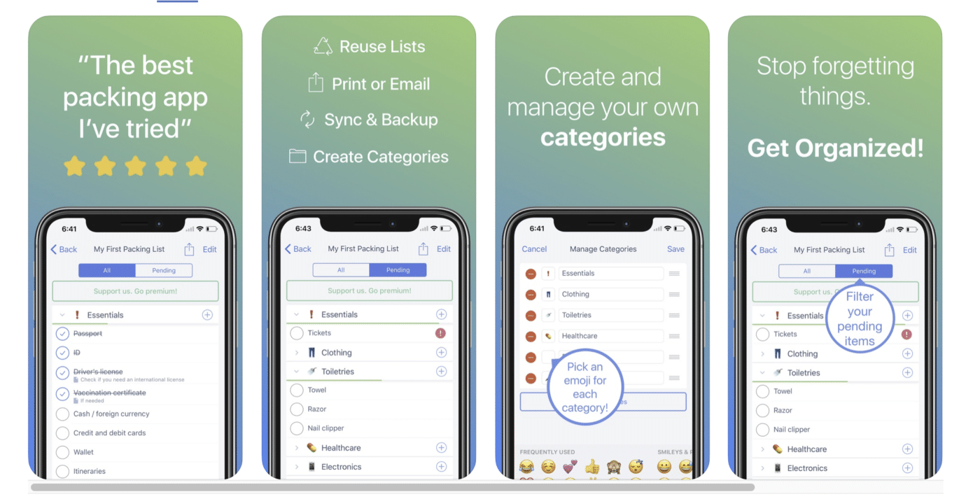 Screen grabs of the Packing List Checklist app, perfect for creating a personal packing list for a road trip