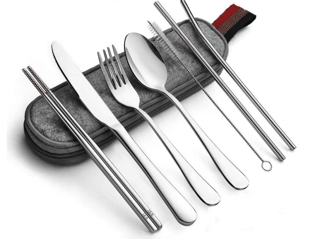 Reusable Travel Utensils Silverware with Case