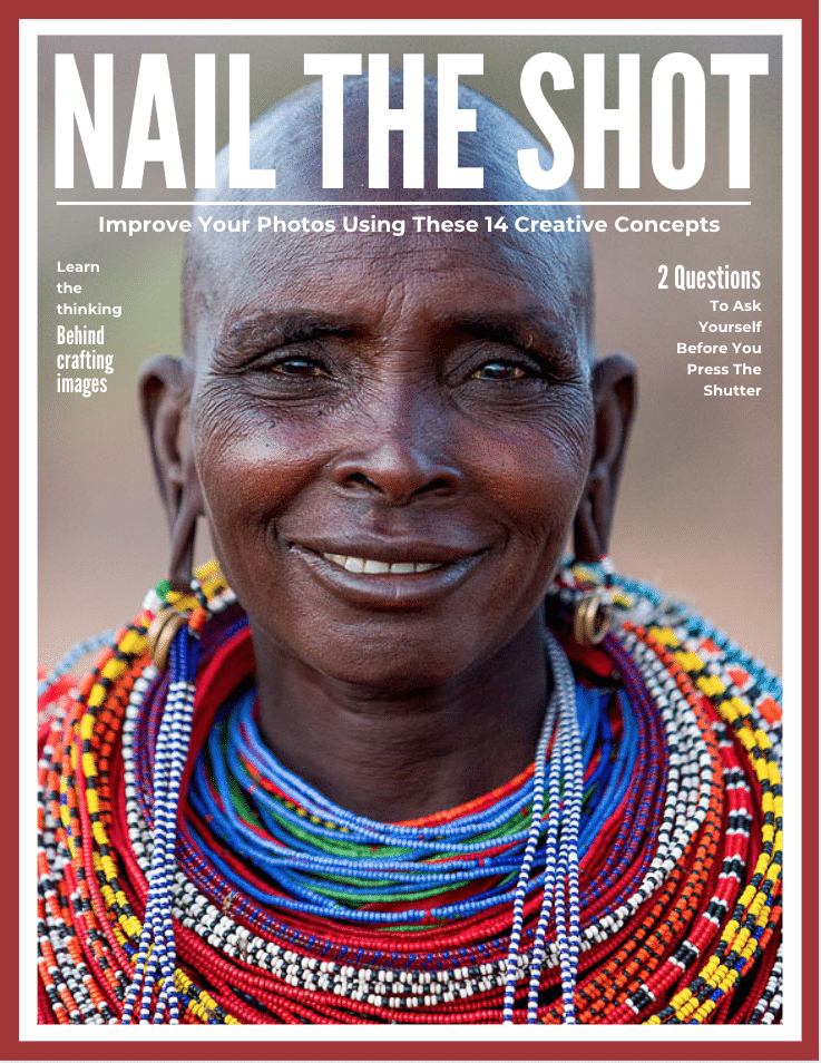 "Cover of a pdf with a beautiful black Samburu woman with the title ""Nail the Shot: Improve your photos with these 14 Creative Concepts"" u"
