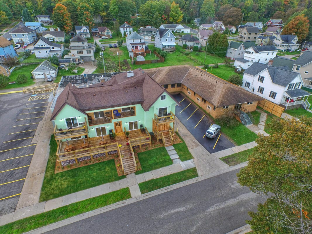 Aerial view of Tracey's in the Roam Hotel Munising