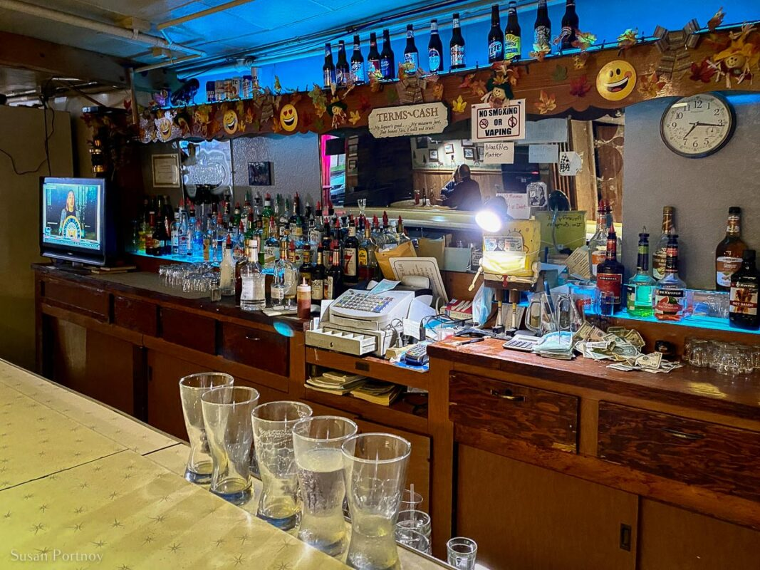 BEhind the bar at Trout Lake Tavern, in the U.P.