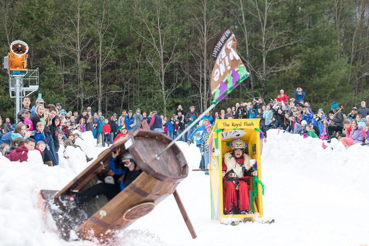 Outhouse races on the Sapphire Valley Resort bunny hill during the winter